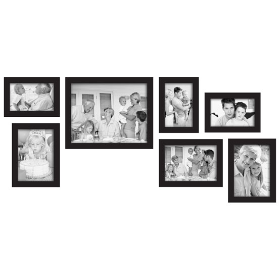 "7 Piece Frame Set<br />three – 4x6"", three – 5x7"", <br />one – 8x10"", Black Gallery"