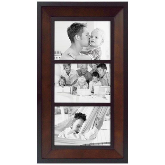 "Two-tone Collage<br />Holds 3 - 5x7"" Photos<br />Black & Brown"