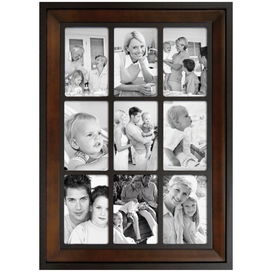 "Two-tone Collage<br />Holds 9 - 4x6"" Photos<br />Black & Brown"